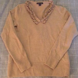 Brooks Brothers Camel ruffle v neck sweater xs